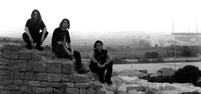 Imperial in 1998: Qojau [guitars], Skrow [bass/vocals], and Franky [drums].